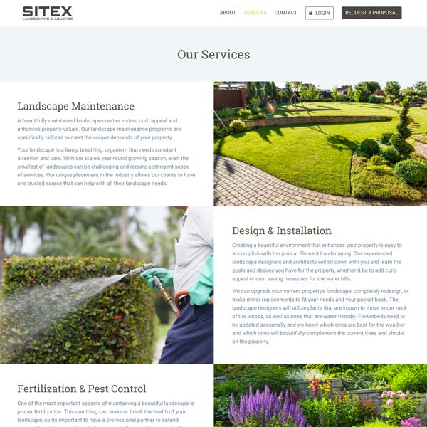 Sitex Landscape - Web Design